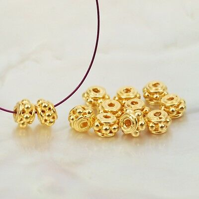 1 PAIR 24K Gold Vermeil 925 Sterling SILVER BEADS 0.55g Bali Granulation 5.1mm