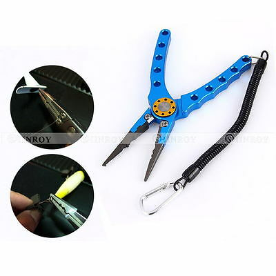"New 7"" Aluminum Fishing Pliers Saltwater Braid Cutter Hook Remover Tackle Tool"