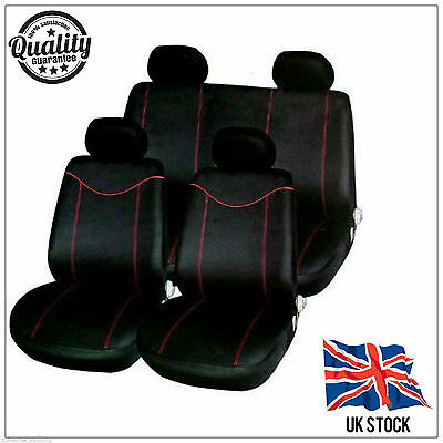 10pc UNIVERSAL BLACK / RED GIRLS CAR SEAT COVERS PROTECTORS FULL REAR COVER SET