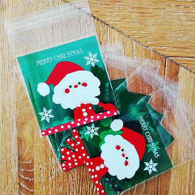 100x Christmas Cello Cellophane Cookie Biscuit Candy Sweet Bag Party Favour Gift