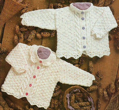 """Baby Cable & Diamond Pattern Cardigans  Lace Edging 16"""" -26"""" DK Knitting Pattern"""