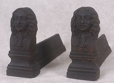 Pair of Antique French Cast Iron Figural Fireplace Andirons 19th Cent King Louis