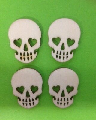 10 Natural Wooden Halloween Skull Card Making Craft Embellishments Clearance