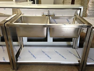 Commercial Catering Kitchen Stainless steel Sink, Double bowl, 1200x600