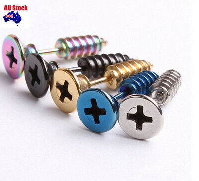 1 Pair Punk Screw Stainless Steel Surgical  Cool Women &Mens Ear Studs Earrings