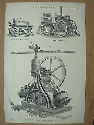 Antique 1880 Victorian Print Fire Engines Floating Steam Fire Engine