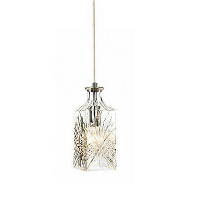 Crystal Wine DECANTER PENDANT LIGHT Vintage Cut Glass and Chrome Fittings Whisky