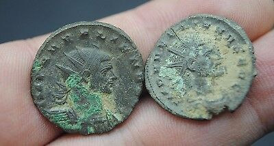 Two Unresearched Ancient Roman Silvered Bronze Coins