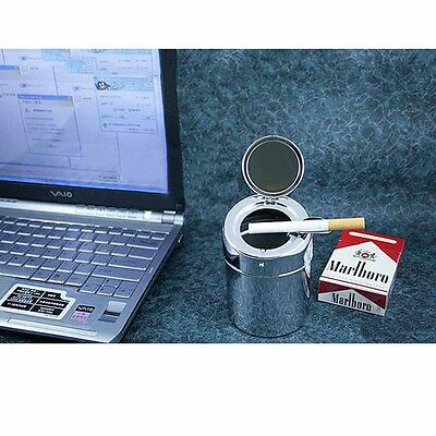 Metal Ashtray Car Home Dual-use Stainless Steel Cylindrical Lid Ashtray