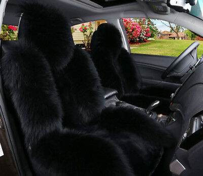 100% Genuine Black Sheepskin Long Wool Car Seat Covers Cover(Universal Fit) Pair