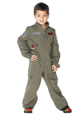 Boys Top Gun Pilot Jumpsuit Child Halloween Costume