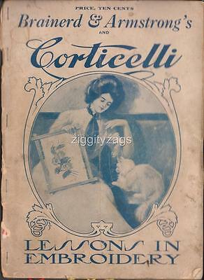 Brainerd & Armstrong's CORTICELLI Lessons in Embroidery Rare c.1898 + Silk