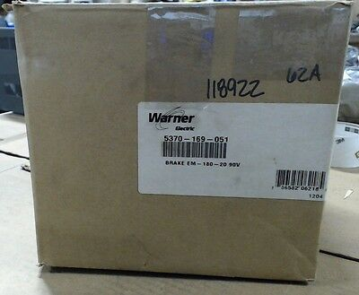 NIB Warner Electric brake EM180-20 5370-169-051 90VDC - 3600 R.P.M - 25 Watts