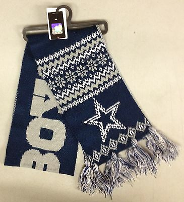 "Dallas Cowboys Team Knit Winter Scarf NEW 65"" w tassels - UPSCALE"
