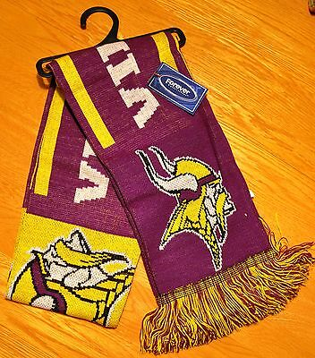"Minnesota Vikings Knit Winter Neck Scarf NEW 65"" Great RETRO Design"