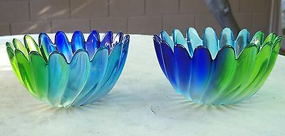Vintage Waltherglas Liebenstern Blue Green Swirl Petal Bowl Walther Glass Set/2