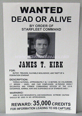 Star Trek III: The Search for Spock POSTER - Wanted Dead or Alive JAMES T. KIRK!