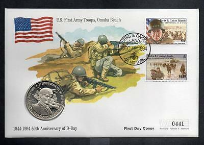 TURKS&CAICOS 1994 50TH ANNIVERSARY OF D-DAY 5 crowns COIN COVER