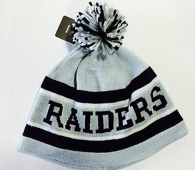 Oakland Raiders Knit Beanie Winter Hat Toque Skull Cap NEW Grey Pom