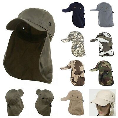 Men's Baseball Cap Neck Cover Hiking Fishing Hunting Camo Army Bucket Sun Flap