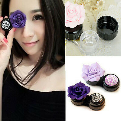 Hot Camellia Flower Contact Lens Soaking Case Storage Case Lens Container