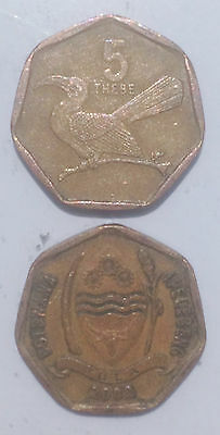 BOTSWANA 5 THEBE 1998-2009 Bird 17mm Bronze plated Steel Coin 1pcs