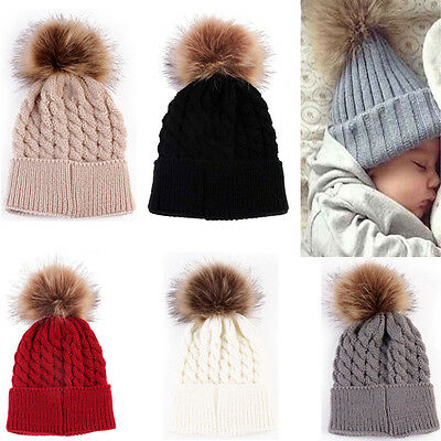 Winter Warm Newborn Baby Boy Girl Bobble Hat Crochet Knit Hairball Beanie Cap UK