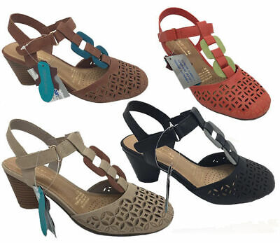 Ladies Shoes SOA Blonde Black Coral Tan Bone Multi Covered Toe Size 6-10 Sandals