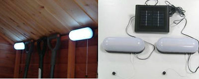 New 2Pc 10 LED SOLAR POWERED RECHARGEABLE GARDEN SHED GARAGE STABLE LIGHT NEW