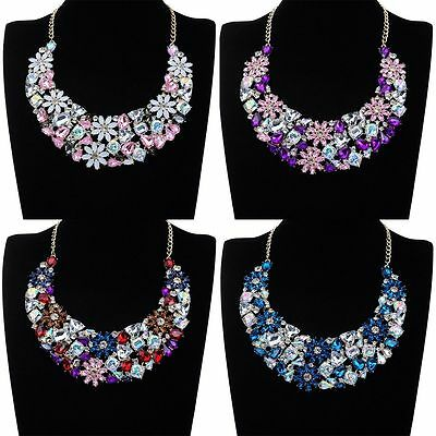 Fashion Jewelry Rhinestone flower Crystal Bib Collar Choker Statement Necklace