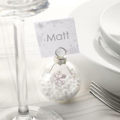 6 x Clear Christmas Snowflake Snowball Baubles Place Card Table Setting Holders