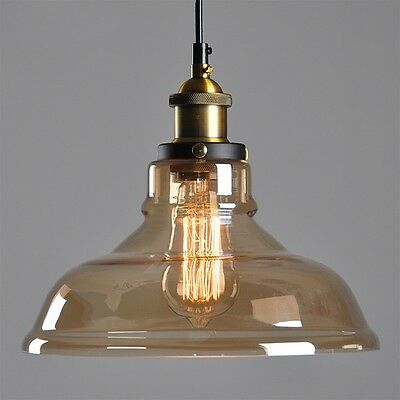 Vintage Clear Glass Shade Ceiling Retro Chandelier Fitting Pendant Lamp Light