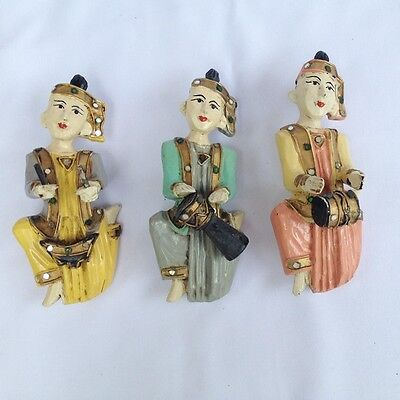 Antique Rare Asian 3 Burmese  Wood Carved Musicians Figure Hanging Collectible