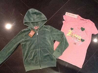 NWT Juicy Couture New & Gen. Girls Age 8 Green Velour Hoody & T-Shirt With Logo
