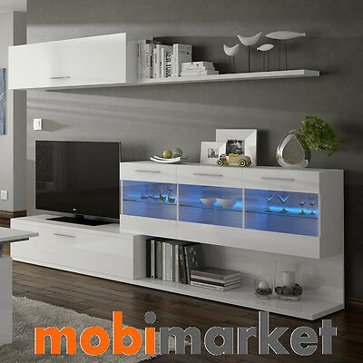 Mueble de comedor salon TV moderno con luces Leds color Blanco Brillo Aral Vetro