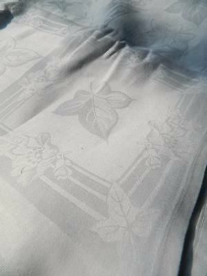 "Huge 10ft antique banquet Irish linen damask tablecloth - Roses & Ivy 124"" x 88"""
