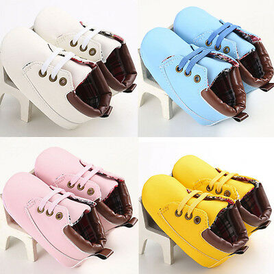 Newborn Baby Boy Girl Crib Shoes Toddler Soft Sole Anti-Slip Leather Sneakers UK