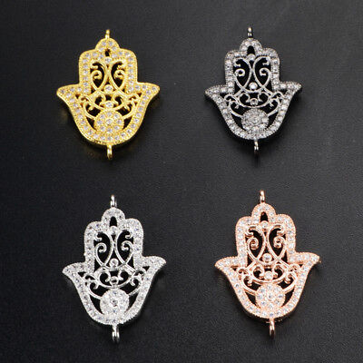 5Pcs BOHO Lucky Turkish Hamsa Hand Inlay CZ Paved Connector With Plated BWX037