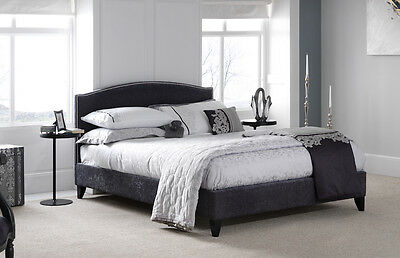 Curved Studded Fabric Bed Frame in 4 Colours CHARCOAL, CREAM, MINK or STEEL