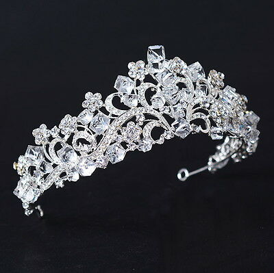 5.5cm High Flower Sparkling Cube Crystal Wedding Bridal Party Pageant Prom Tiara