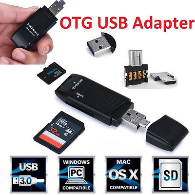 MINI 5Gbps High Speed USB 3.0 +OTG Micro SD/SDXC/TF Card Reader For PC Adapter