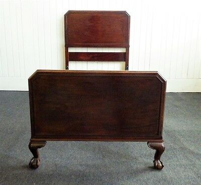 Antique vintage carved mahogany single bed - claw and ball feet