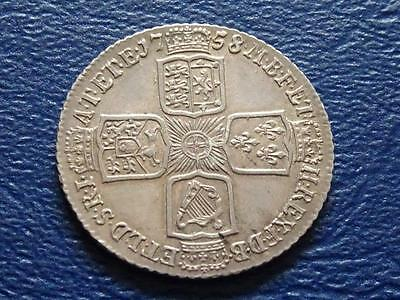 Great Britain - George 11 Silver Shilling 1758 Extremely Fine