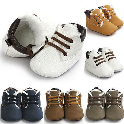Winter Newborn Baby Boy Girls Toddler Soft Sole Leather Fur Crib Shoes Sneakers