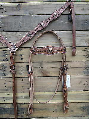 Copper Skull Show Western Horse Headstall Breastcollar Set Tooled Leather Bridle