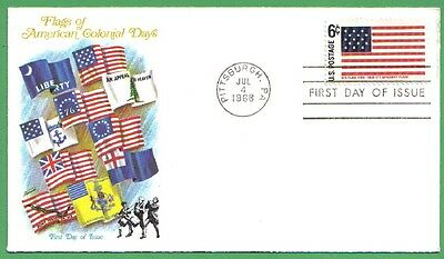 1968 Us Fdc Flags Of American Colonial Days Us Flag 6C Stamp Fleetwood