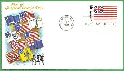 1968 Us Fdc Flags Of American Colonial Days Grand Union 6C Stamp Fleetwood