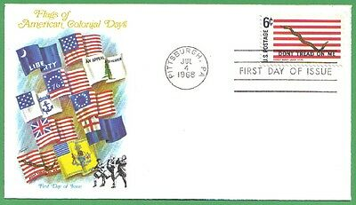 1968 Us Fdc Flags Of American Colonial Days First Navy Jack 6C Stamp Fleetwood