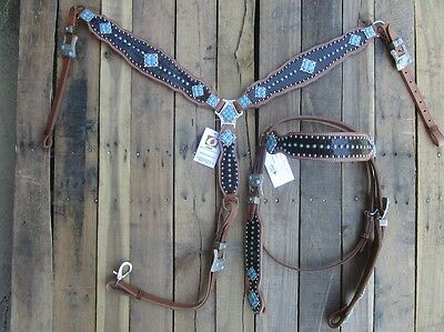 Turquoise Blue Western Headstall Breast Collar Gator Show Horse Leather Bridle