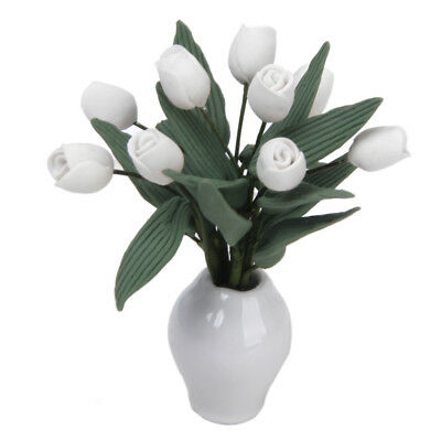 Dollhouse Miniature Ornament White Clay Tulips Flower Plant in Ceramic Vase